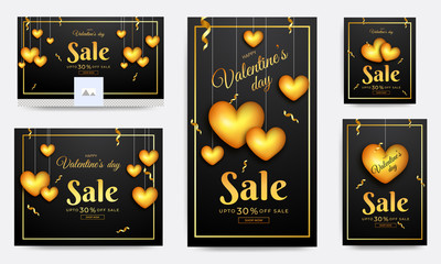 Glossy golden heart shapes hanging on background with 30% discount offer. Social media header and template design for Valentine's Day sale.