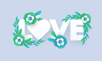 Paper cut style typography of love decorated with flowers on blue background for Valentine's Day greeting card design.