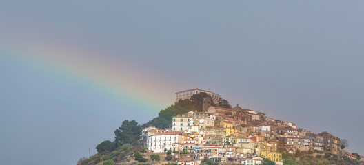 Rainbow Over a Hilltop Village in Southern Italy