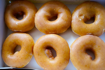 A dozen of Golden glazed Doughnuts in the box