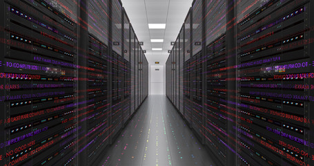 Modern Server Room Environment. Computer Racks All Around With Flying Texts. Technology Related 4K Cg Render.
