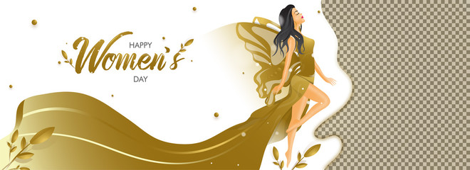 Beautiful character of lady in angel costume for Women's Day celebration header or banner design.