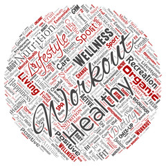 Vector conceptual healthy living positive nutrition sport round circle red word cloud isolated background. Collage of happiness care, organic, recreation workout, beauty, vital healthcare spa concept