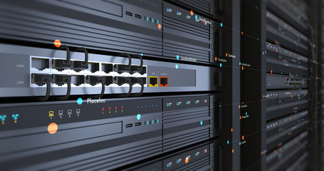 Close Up Modern Server Room Environment. Computer Racks All Around With Flying Texts. Technology Related 4K Cg Render.