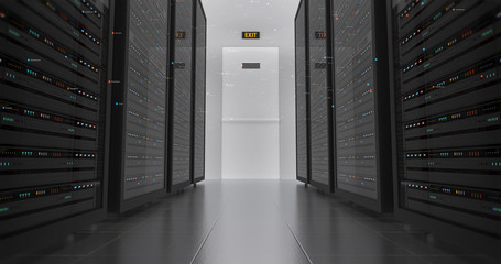 Server Racks In a Modern Data Center. Computer Racks All Around With Flying Numbers. Technology Related 4K Cg Render.