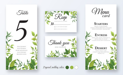 Wedding Invitation, menu card, table number, thank you, rsvp. Floral design with green watercolor fern leaves, foliage greenery decorative frame print. Vector elegant cute rustic greeting, invite, pos