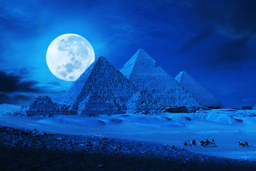 Door stickers Fantasy Landscape pyramids giza cairo egypt moonlit phantasy