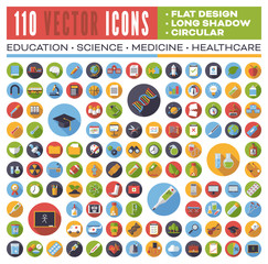 Set of 110 flat design long shadow round vector icons for web, print, apps, interface design: science, education, medicine, health care