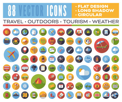 Set of 88 flat design long shadow round vector icons for web, print, apps, interface design: travel, outdoors, tourism, weather.