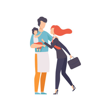 Dad Holding Baby Meeting Mother After Work, Househusband and Business Woman, Equality, Freedom, Civil Rights, Independence Vector Illustration