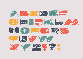 Hand drawn letters.