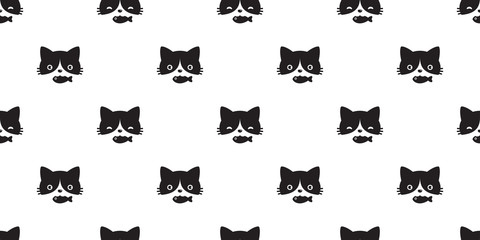 cat seamless pattern vector head kitten calico fish repeat wallpaper scarf isolated cartoon tile background doodle illustration black