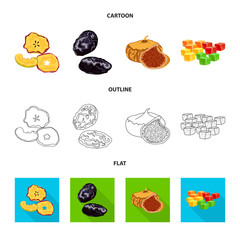 Vector illustration of food  and raw  symbol. Collection of food  and nature   vector icon for stock.