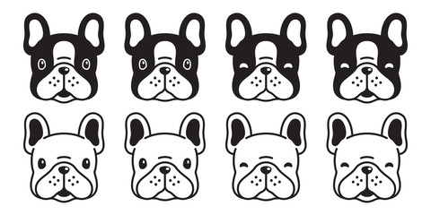 dog vector french bulldog icon head cartoon character puppy logo illustration white black