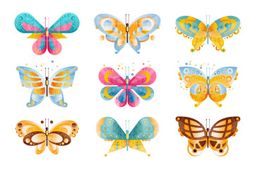Flat vector set of brightly colored butterflies with beautiful wings. Flying insects. Icons with gradients and texture.