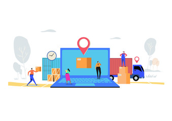 Online delivery service concept, Order, Cargo, Mobile App, GPS Tracking Service. Worldwide Logistic Delivery.  Flat cartoon character graphic design. Landing page,banner,flyer,poster,web page