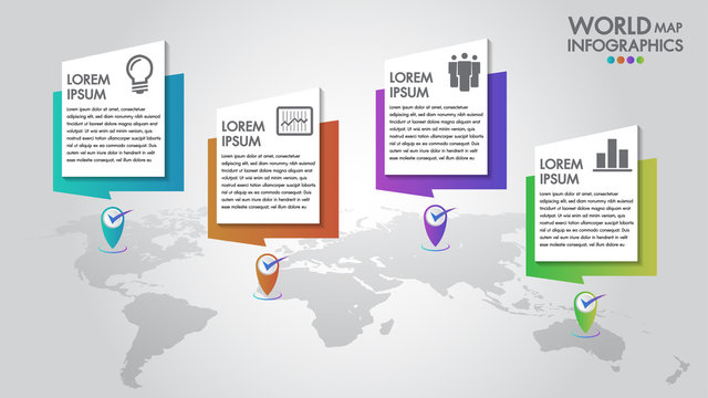 World map business infographics 4 options vector illustration and design template with pointer marks.Can be used for communication connect, workflow layout, banner, diagram, number, step up options.