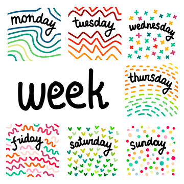 Set of days in a week hand drawn illustrations