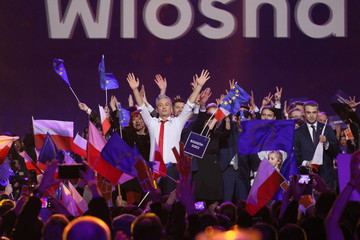 Robert Biedron, openly-gay mayor of Polish city of Slupsk during the launch of his new pro-EU party 'Wiosna'  in Warsaw
