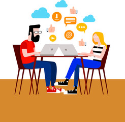 Flat vector illustration of a boy and a girl surfing the internet from their laptops