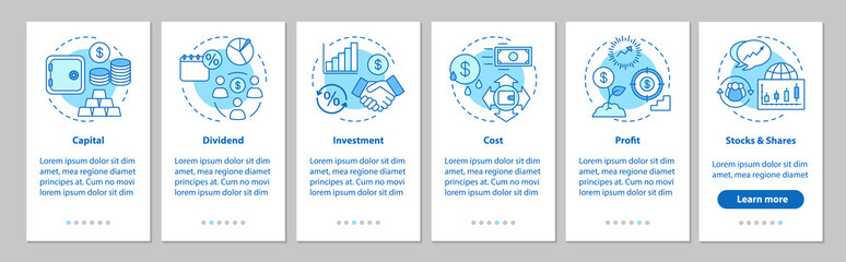 Financial management onboarding mobile app page screen with line