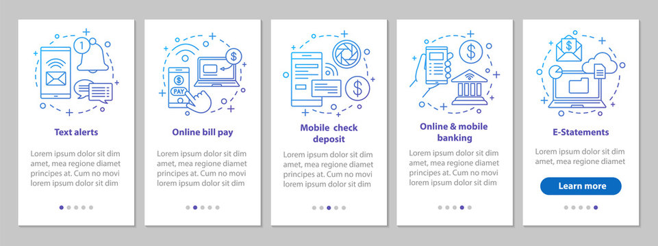Banking service onboarding mobile app page screen with linear co