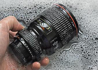 Lens mug in water