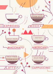 Coffee types vector illustration. Artistic coffee types preparation infographic. Coffee menu
