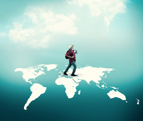 Walking across the world map