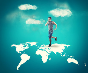 Running across the world map