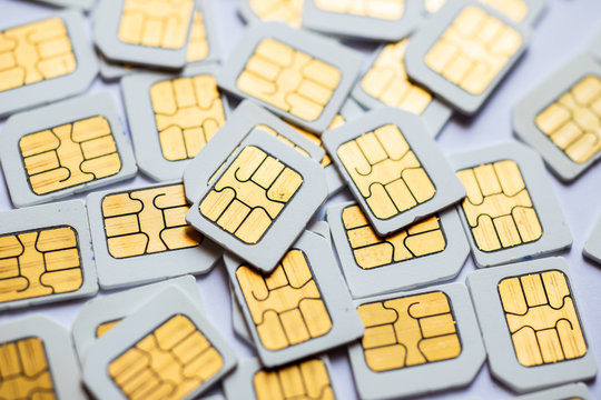 Many Micro SIM 3G for mobile over on white background.