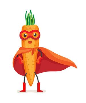 Cute food carrot in cloak of superhero and mask.