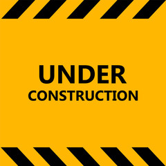 Under Construction Industrial Sign. Warning tape banner