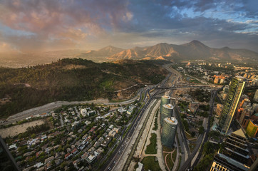 Fototapete - View of Santiago de Chile with Los Andes mountain range in the back