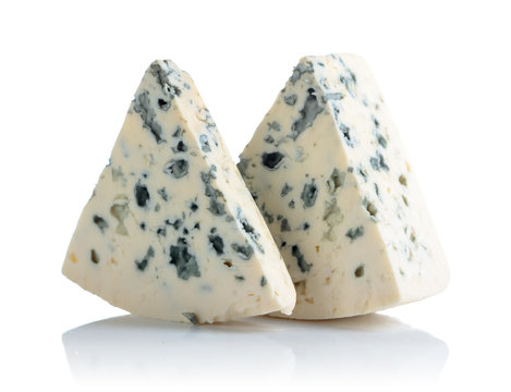 Blue cheese with mold isolated on white background.