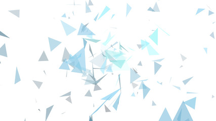 triangles of light blue and gray abstract colors on a white color