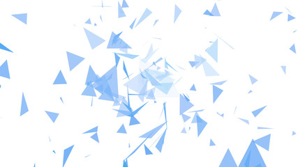 triangles of light blue and dark blue abstract on a white color