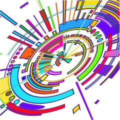The abstract colored radial 3 D image.