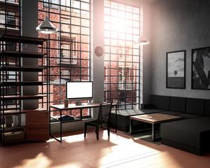 Loft style room interior design with computer mockup