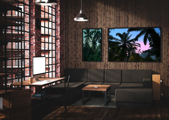 Loft style room interior design with computer mockup bamboo tropical style. 3D Rendering