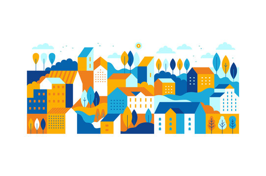 Vector illustration in simple minimal geometric flat style - city landscape with buildings, hills and trees