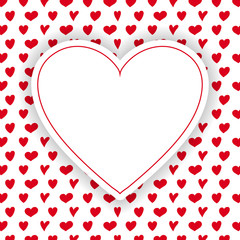 Background with cute hearts and copyspace - love concept. Vector