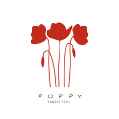 Silhouette of stems, leaves and poppy flowers isolated. Vector Illustration