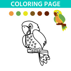Activity page for kids with easy educational gaming level. Coloring book with a contour and color example. Parrot.   Vector illustration