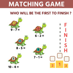 Funny game maze  for children education. Counting example. who is the first to reach the finish line. Vector Illustration