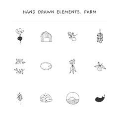 Farm logo elements set. Vector hand drawn objects.