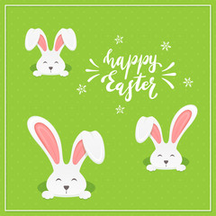 Lettering Happy Easter with Rabbits on Green Background