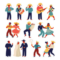 Brazilian people wearing traditional costume for Junina Party set. Vector templates for Latin American holiday, the June party of Brazil.