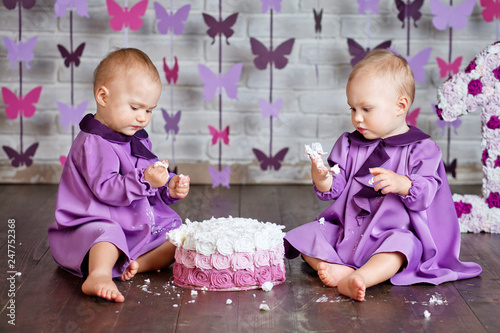 One Year Old Twin Girls Selebrating They 1st Birthday And Eating Smash Cake