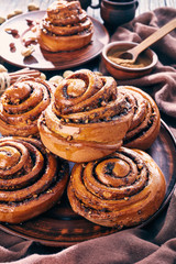 freshly baked Cinnamon rolls bun, close up